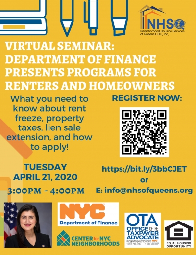 April 21 - Webinar: Programs for Renters and Homeowners